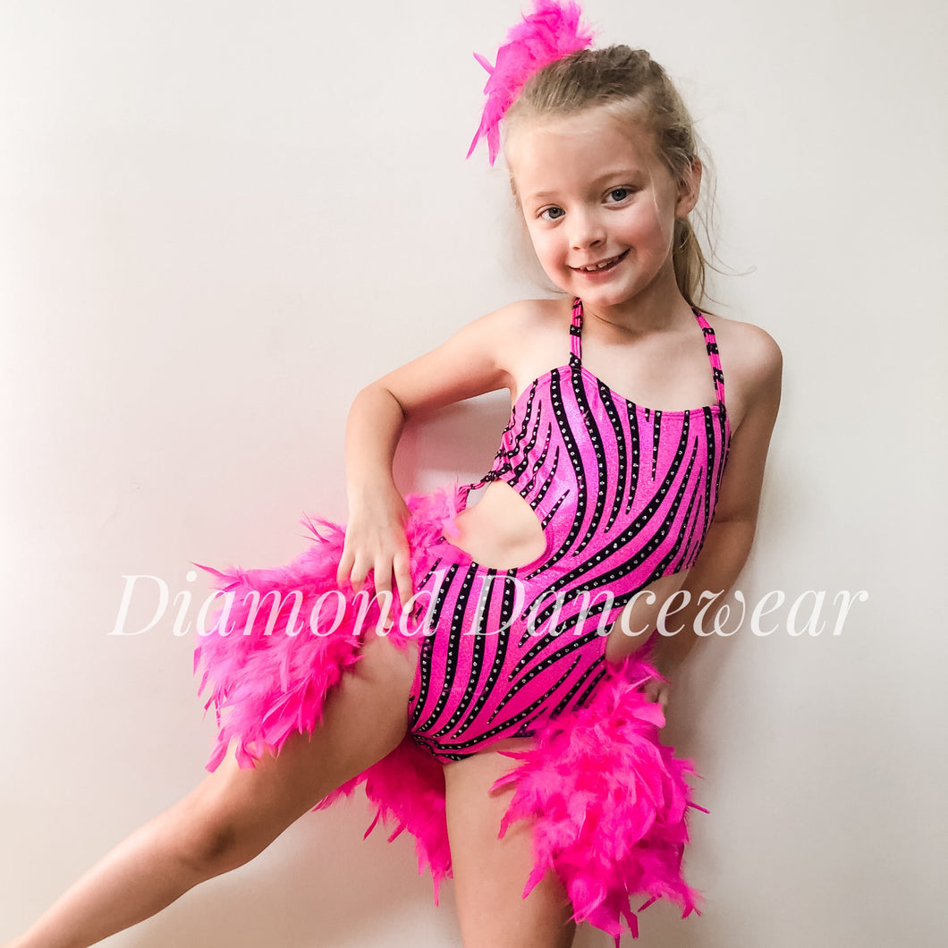 Girls Size 8 - Pink, Black and Silver Broadway Jazz - In Stock