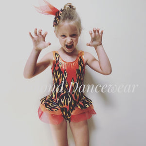 Girls Size 8 - Flame Dance Costume - In Stock