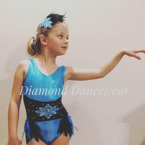Girls Size 6 (long) - Turquoise and Black Dance Costume - In Stock