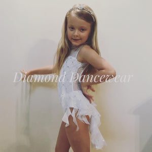 Girls Size 6 - White and Silver Lyrical Dance Costume - In Stock