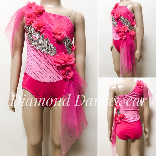 Girls Size 4 - Pink and Silver Lyrical Dance Costume - In Stock