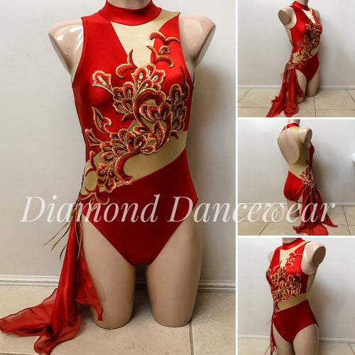 Adult Size 8 - Red and Gold Lyrical Dance Costume - In Stock