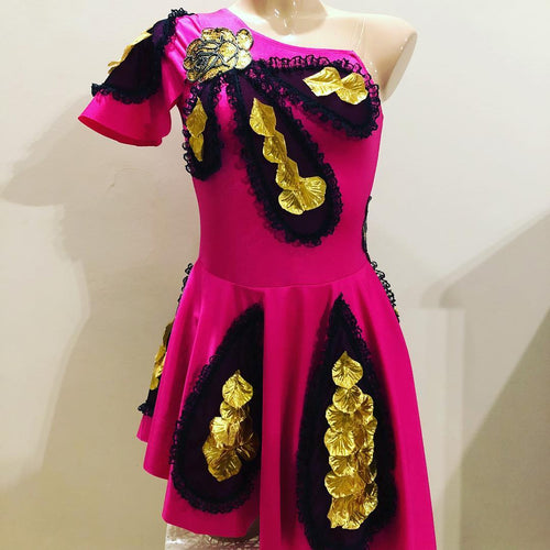 Girls Size 12 -Pink and Gold Dance Dress - In Stock