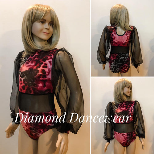 Girls Size 8 - Red and Black Long Sleeve Leotard - In Stock