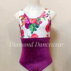 Floral Velvet Leotard and Skirt - Multiple Sizes Available