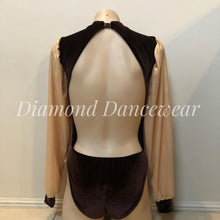 Load image into Gallery viewer, Girls Size 12 -Brown and Gold Long Sleeve Leotard - In Stock