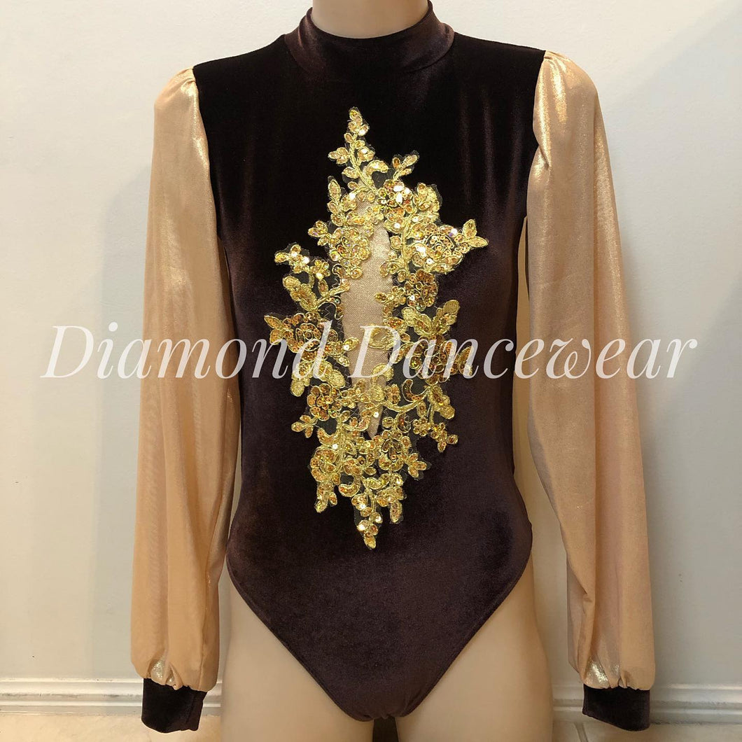 Girls Size 12 -Brown and Gold Long Sleeve Leotard - In Stock