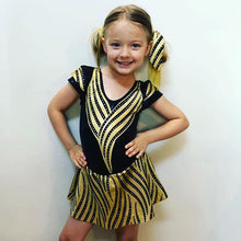 Load image into Gallery viewer, Girls Size 6 - Black and Gold Dance Dress- In Stock