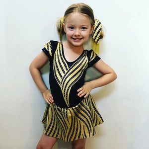 Girls Size 6 - Black and Gold Dance Dress- In Stock