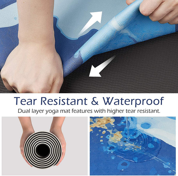 "TOPLUS  Yoga mat 1/8"" Fitness Mat for Yoga——Blue Ocean"