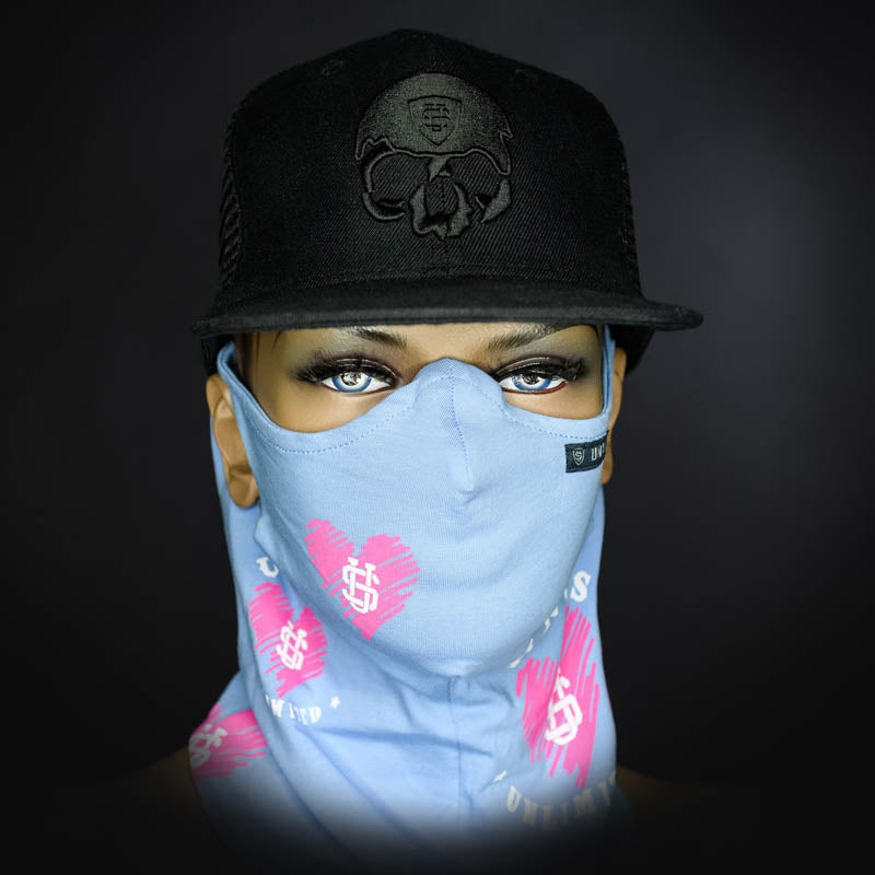 Neck Gaiter - Hearts/ Light Blue