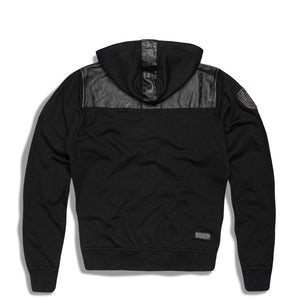mens hoodie with leather