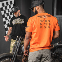 orange motorcycle tshirt