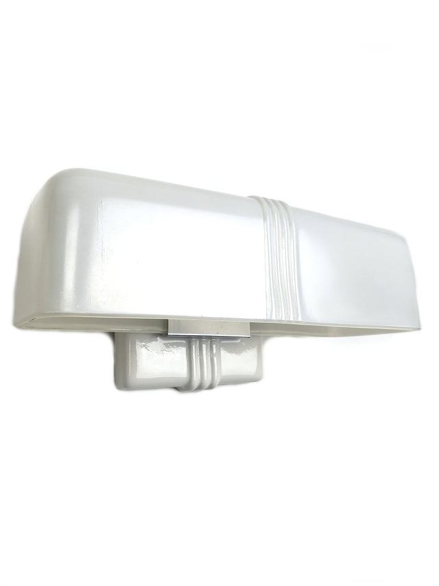 Single Art Deco Porcelain Sconce with Milk Glass Shade - Historical Lights
