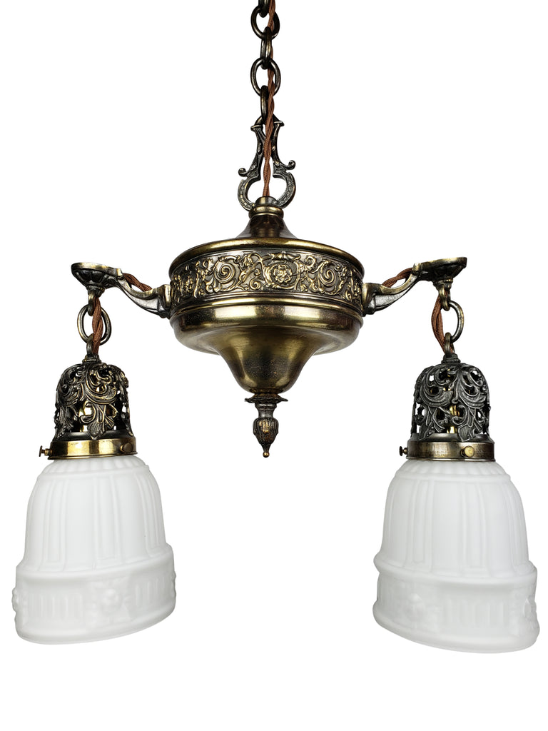 Aladdin Pan Ceiling Fixture with 2 Milk Glass Shades