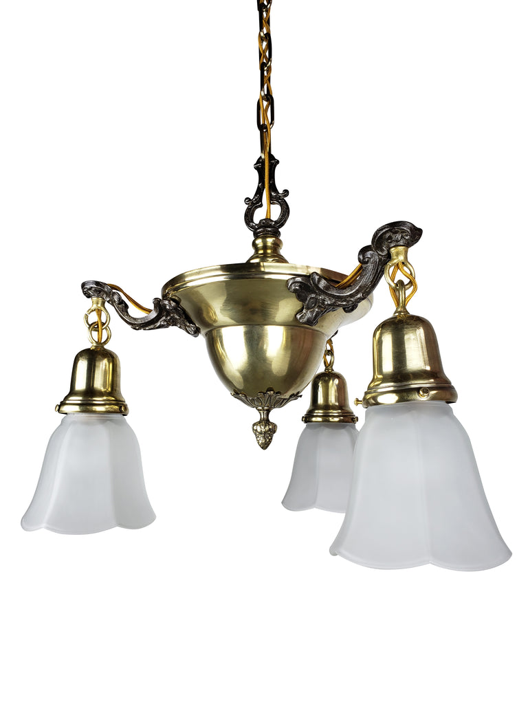 Edwardian Aladdin Pan Fixture with 3 Glass Shades