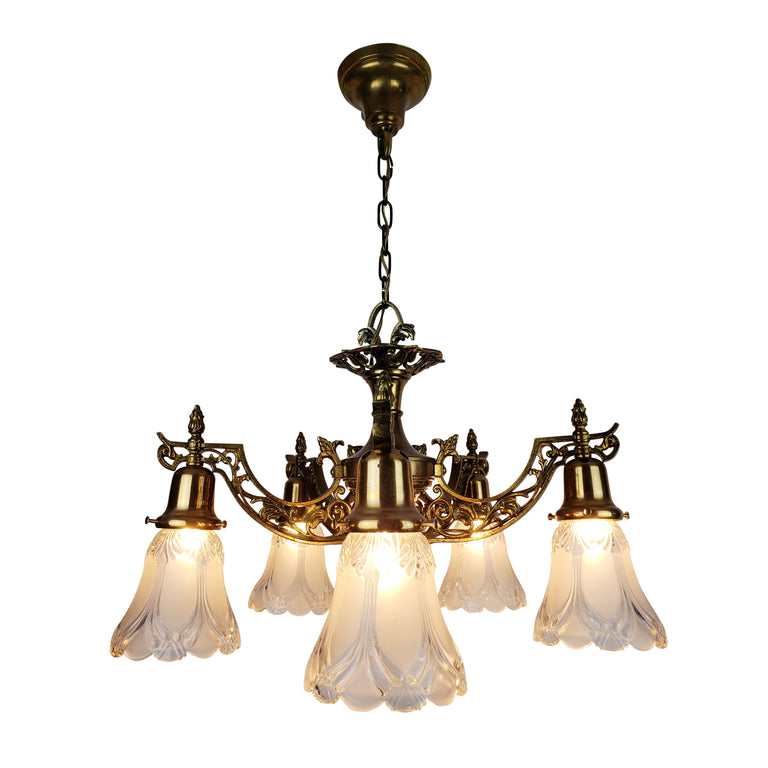 Art Nouveau Ceiling Fixture with 5 Glass Shades - Historical Lights