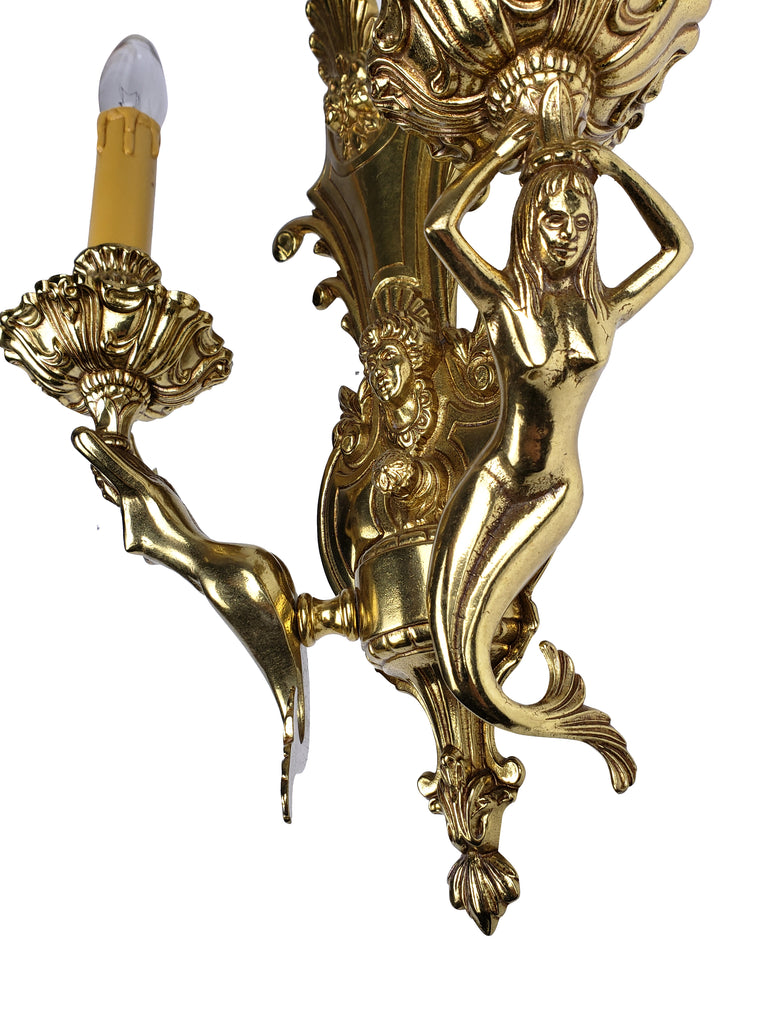Pair of Hollywood Regency Mermaid Brass Wall Sconces