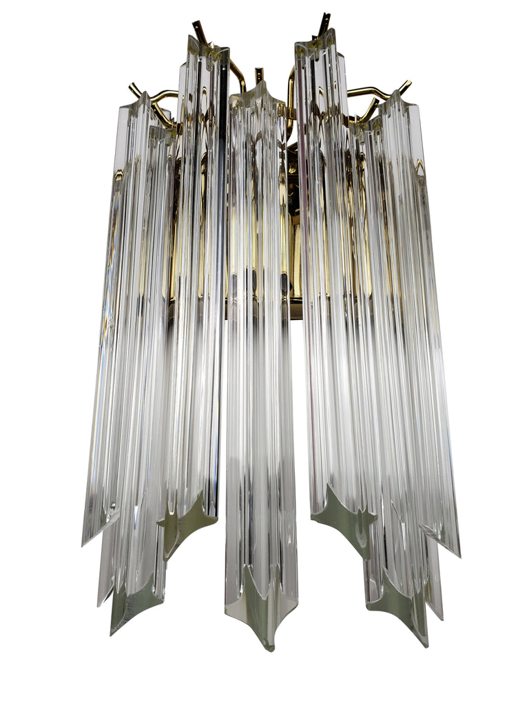 Pair of Venini Wall Sconces with Large Murano Glass Prisms