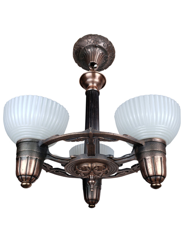 Art Deco Ceiling Fixture with 3 Custard Cup Glass Shades by ALWYN