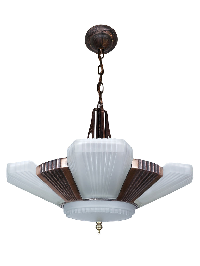 Art Deco Slip Shade Streamline Ceiling Fixture by ALWYN