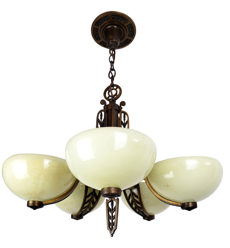 Art Deco 5 Custard Cup Glass Shade Ceiling Fixture - Historical Lights