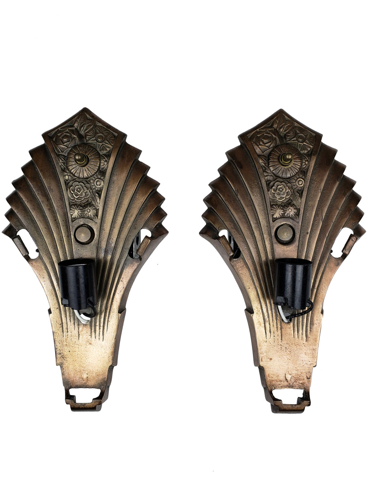 Rare Pair of Large Art Deco Slip Shade Wall Sconces Lightolier Co. with Consolidated Glass Shades