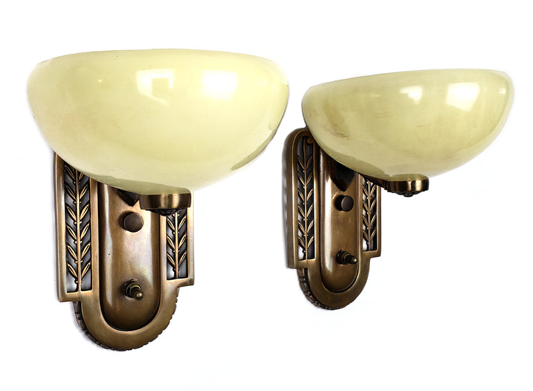 Pair of Art Deco Wall Sconces with Custard Glass Shades - Historical Lights