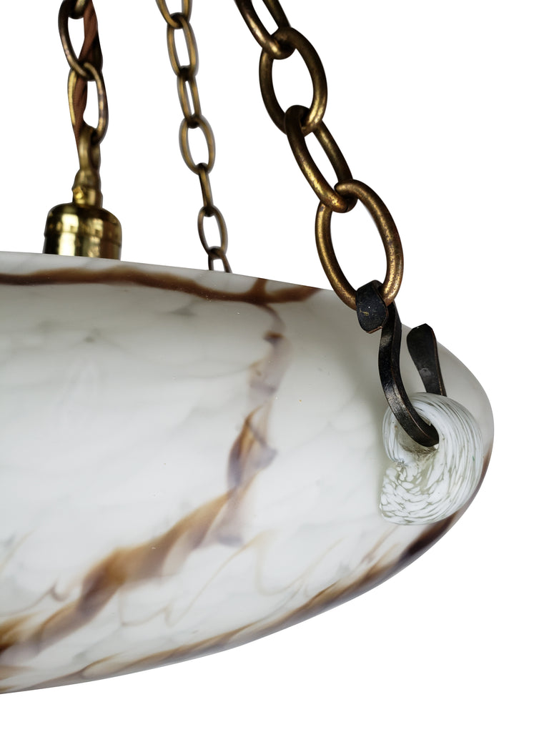 Art Deco Marbleized ''Flycatcher'' Glass Bowl Pendant Light