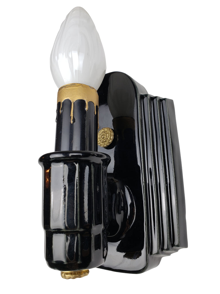 Pair of Art Deco Wall Sconces Original Black Porcelain Streamline