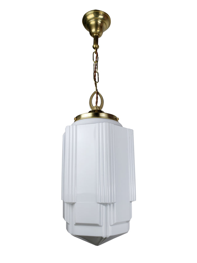 Art Deco XL Opaline Skyscraper Glass Shade Pendant Light