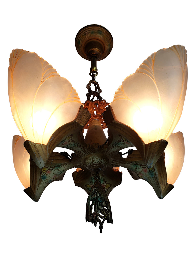 Art Deco Slip Shade Batwing Ceiling Fixture by Midwest Lighting - Historical Lights