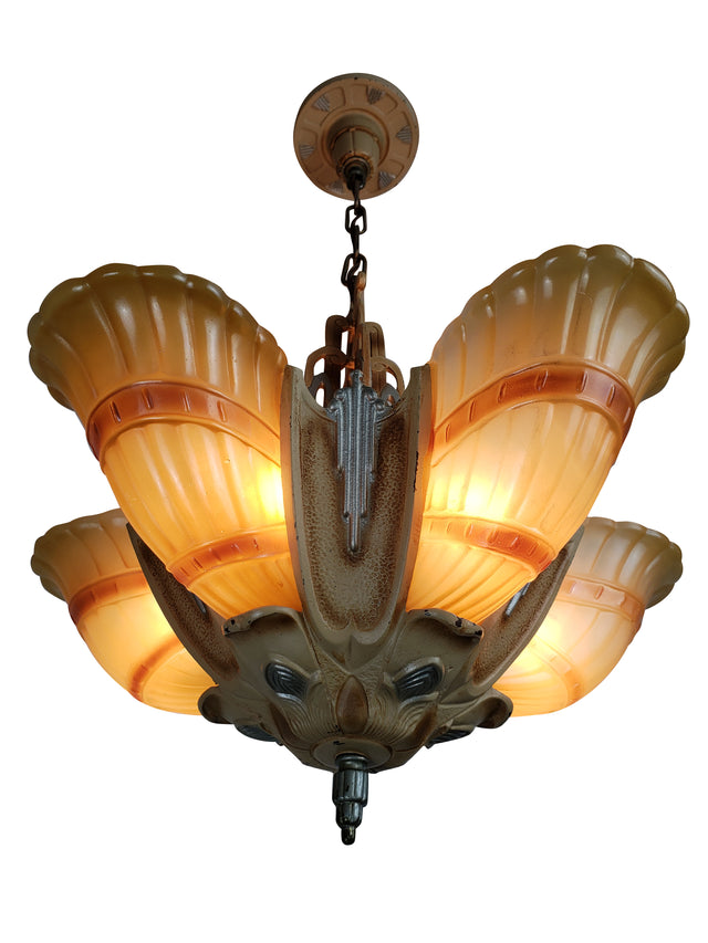 Art Deco 5 Slip Shade Ceiling Fixture by Markel