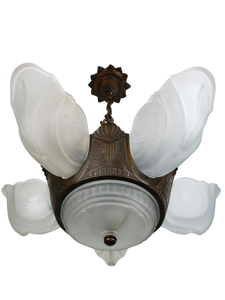 Art Deco 6 Slip Shade Ceiling Fixture by Electrolier MFG. Co