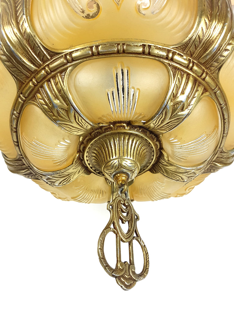 Art Deco 5 Lights Ceiling Fixture with 5 Golden Bulbous Slip Shades - Historical Lights