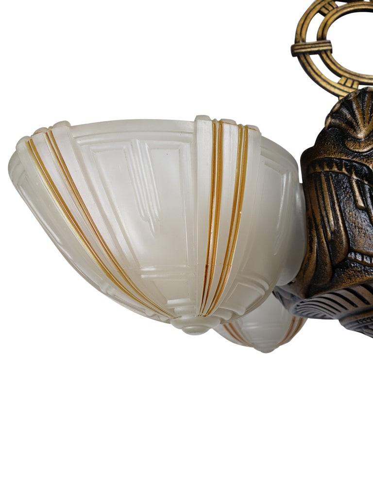 Art Deco 5 Slip Shade Ceiling Fixture by Electrolier MFG. - Historical Lights