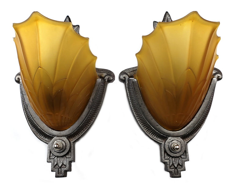 Art Deco Slip Shade Shell Wall Sconces by Electrolier MFG.