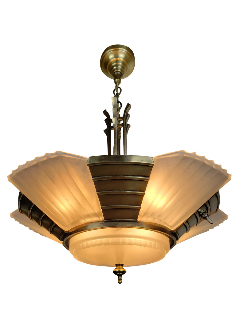 Art Deco Slip Shade Streamline Ceiling Fixture by MIDWEST MFG.