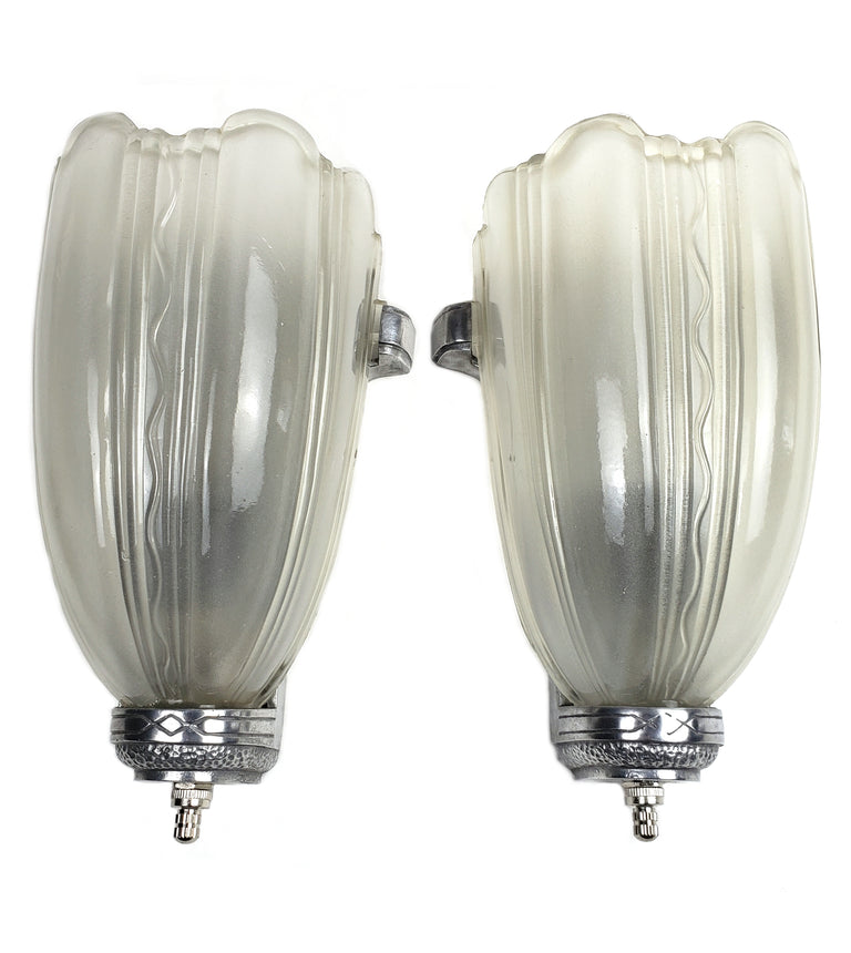 Art Deco Slip Shades Wall Sconces by Franke Levasseur & Co - Historical Lights