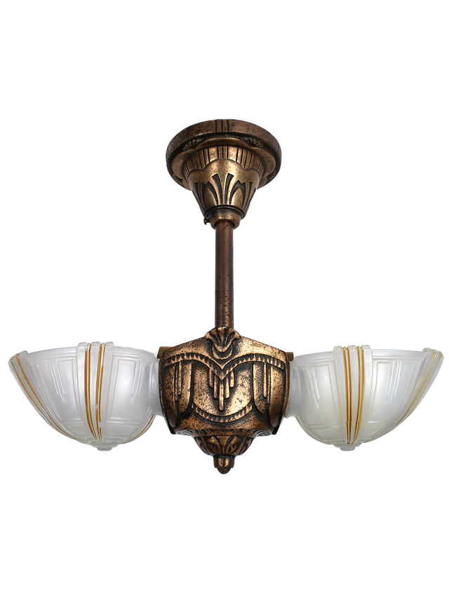 Art Deco Slip Shade 2 Lights Ceiling Fixture by Electrolier MFG. - Historical Lights