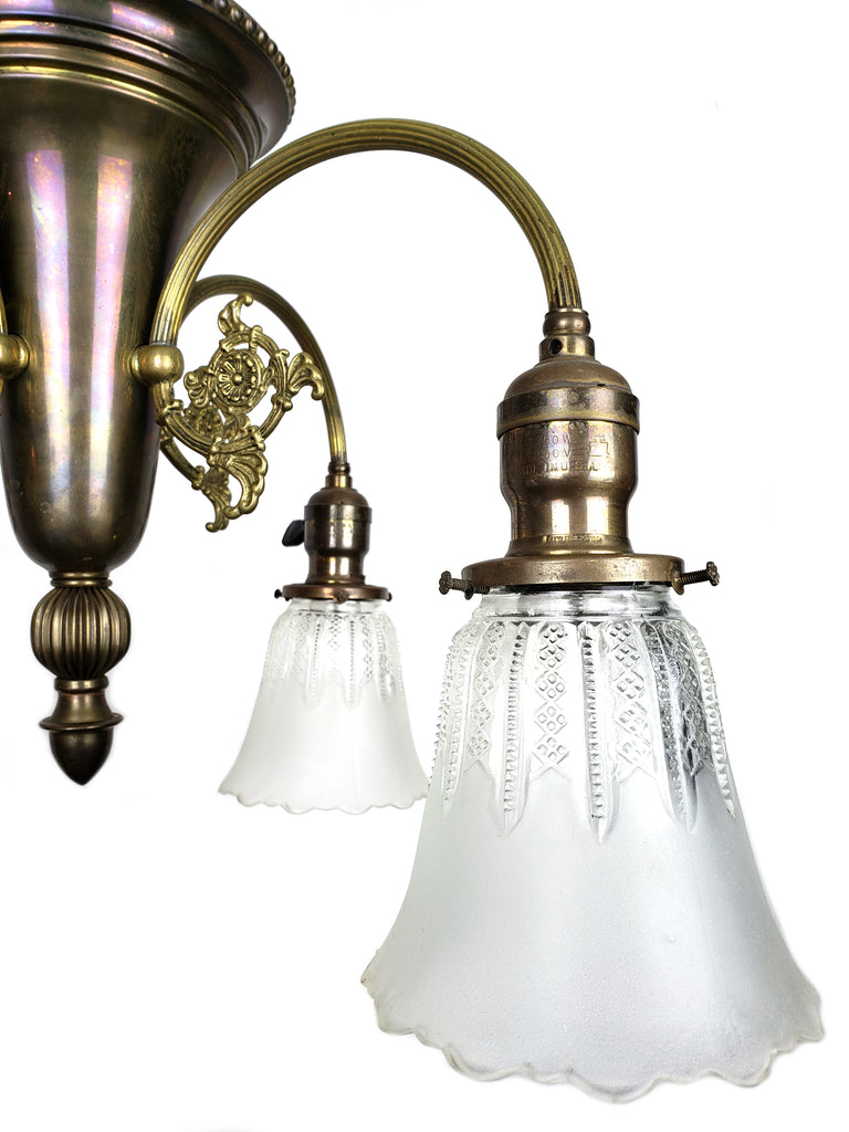 Art Nouveau 2 Tone Ceiling Fixture with 4 Shades - Historical Lights