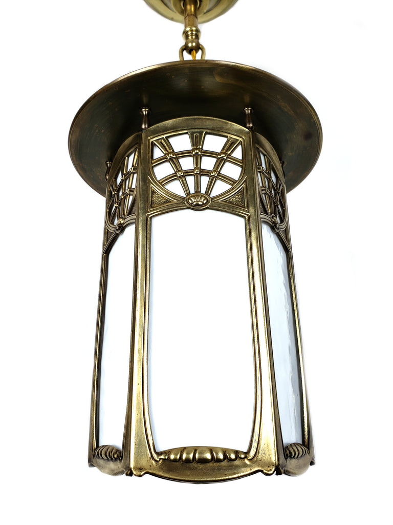 Art Nouveau Large Slag Glass Lantern Pendant Light - Historical Lights