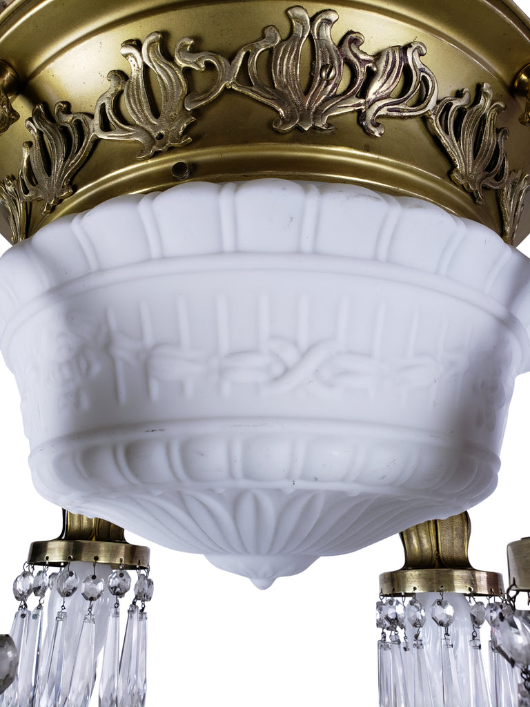 Art Nouveau Milk Glass & Crystal Ceiling Fixture