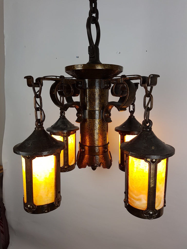Arts & Crafts Mission Ceiling Fixture with Caramel Slag Glass - Historical Lights