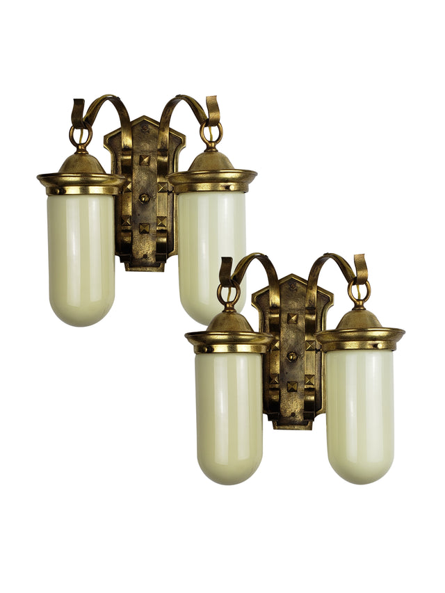 Pair of Arts & Crafts Wall Sconces with Tubular Vaseline Shades