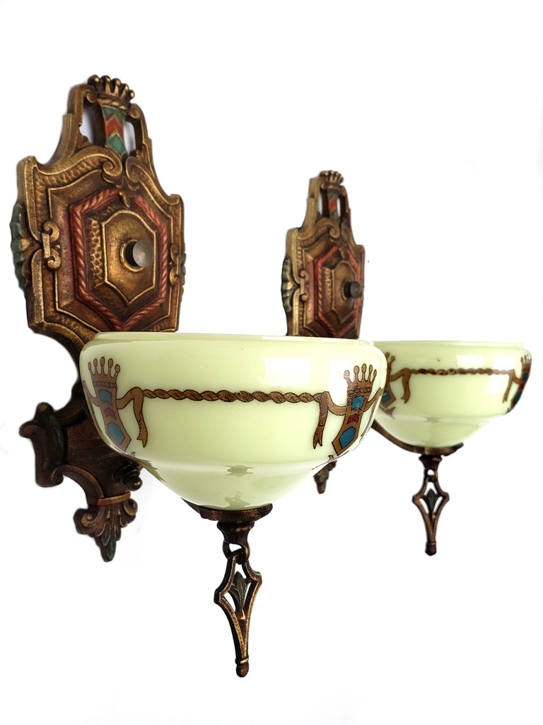 Art Deco Wall Sconces of the Marquette Series by Gill Glass - Historical Lights