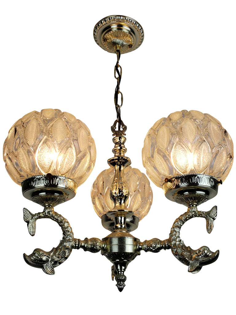 Hollywood Regency Koi Fish Ceiling Fixture with Frosted Glass Shade - Historical Lights
