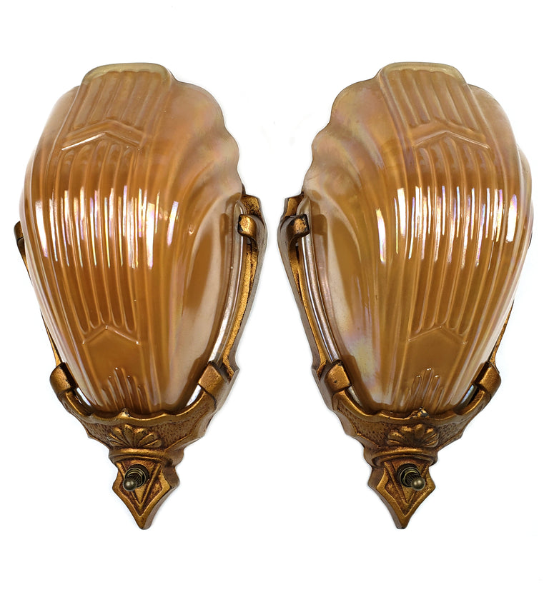 Art Deco Slip Shade Wall Sconces Carnival Glass Chevron by Markel - Historical Lights