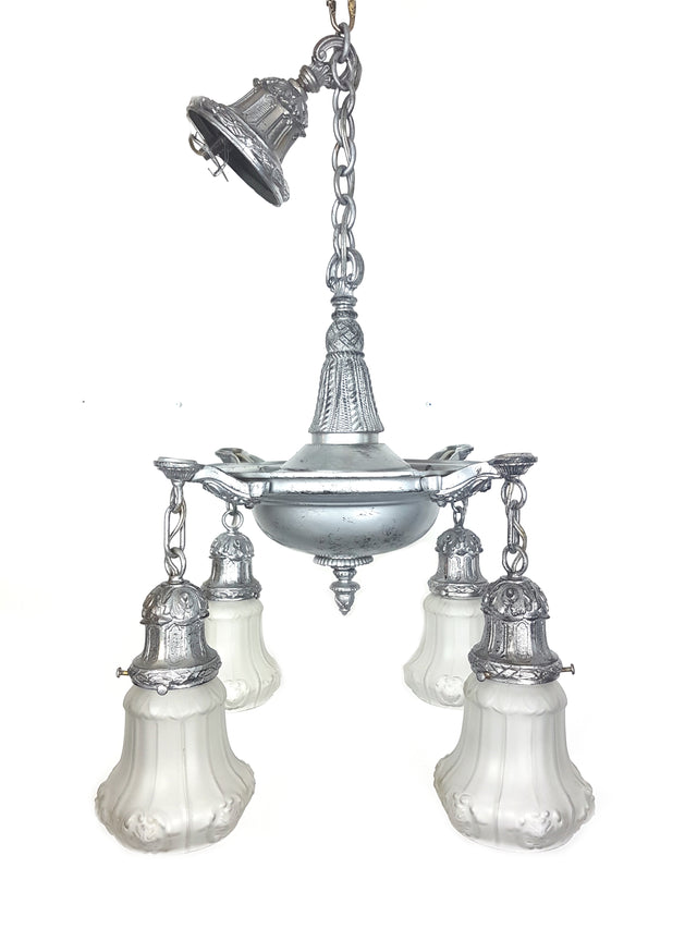 4 Lights Pan Fixture with White Frosted Shades - Historical Lights