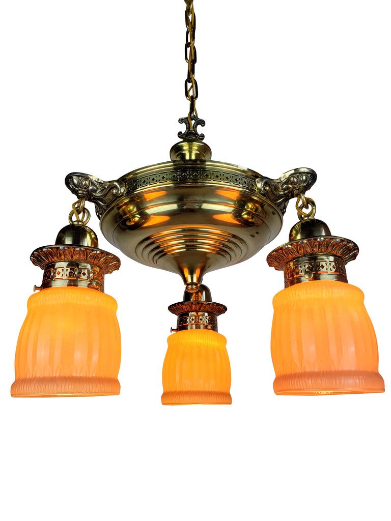 Edwardian Aladdin Pan Fixture with 3 Antique Pink Glass Shades